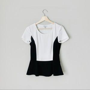 {DKNYC} Black & White Peplum Short Sleeve Blouse